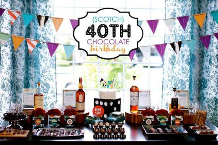 40th scotch themed birthday table decor for men