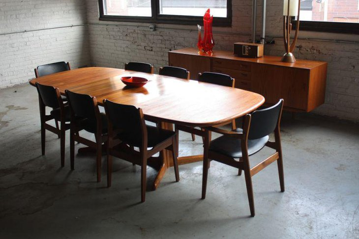 8 seater Mid Century modern dining table