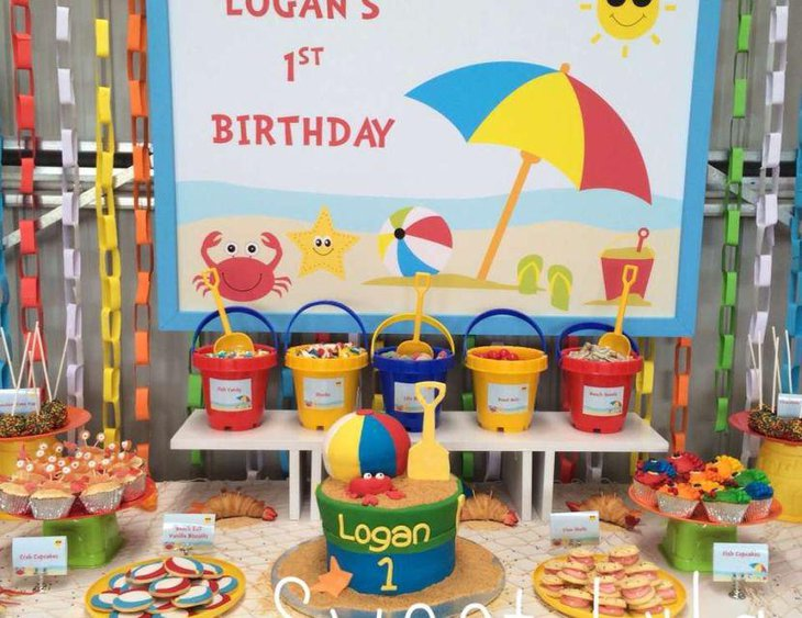 A beach themed summer birthday party table for 1st birthday