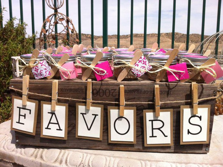 A beautiful display of bridal shower favors
