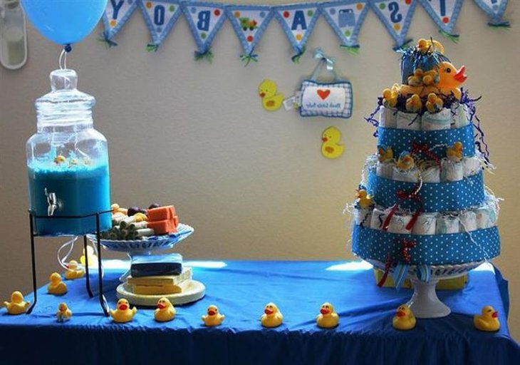 A cute duck baby shower diaper cake