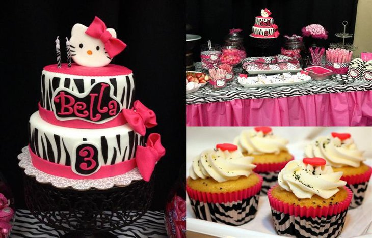 A Hello Kitty baby shower cake with matching cupcakes