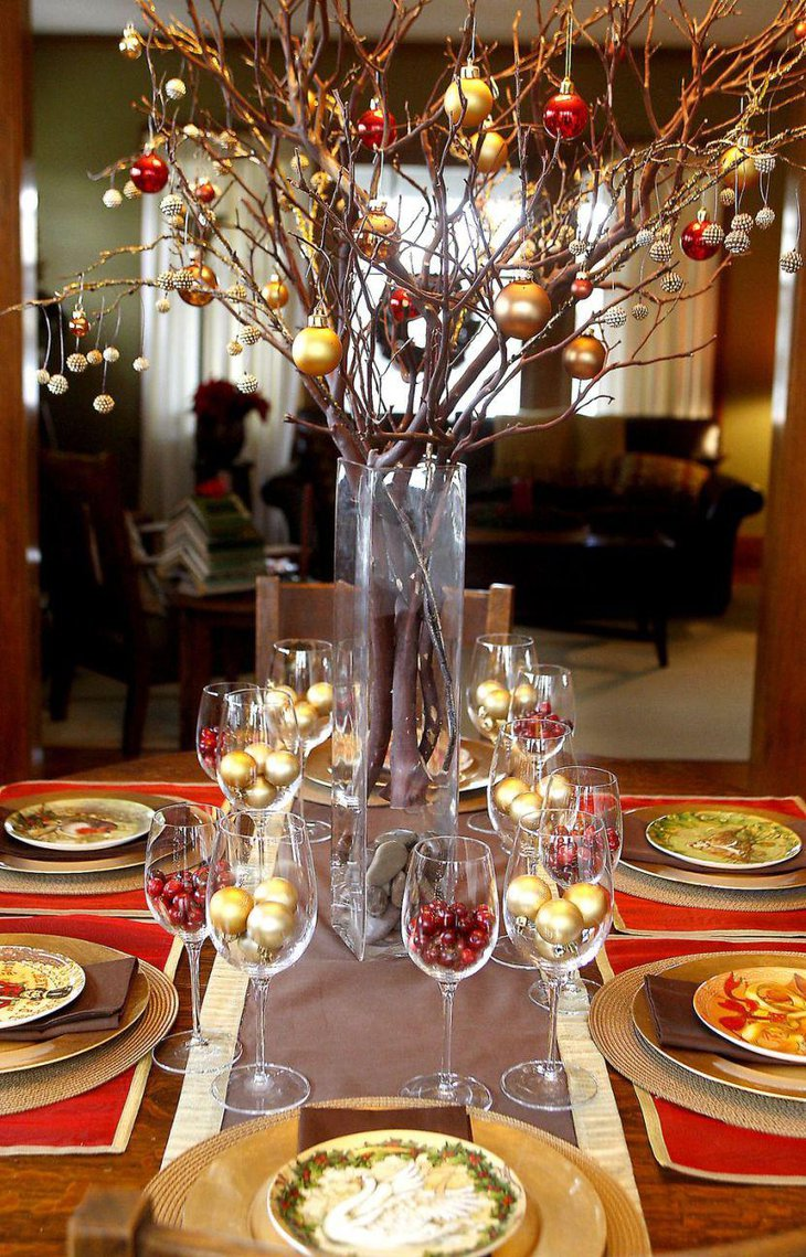 A natural twig centerpiece on holiday table