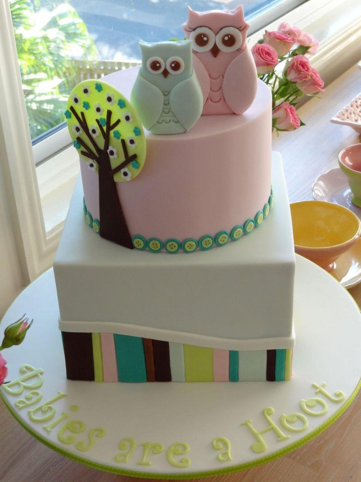 A pair of owls on a baby shower cake