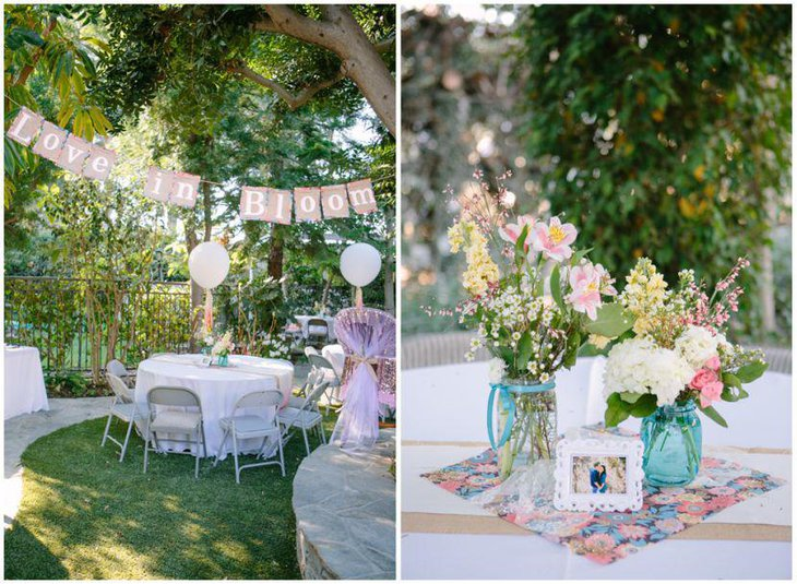 A pretty garden themed bridal shower table