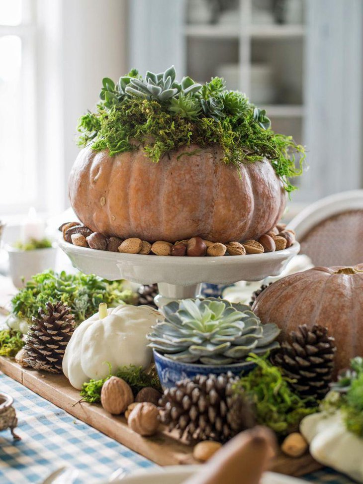 A pumpkin centerpiece can add a festive cheer to any breakfast table
