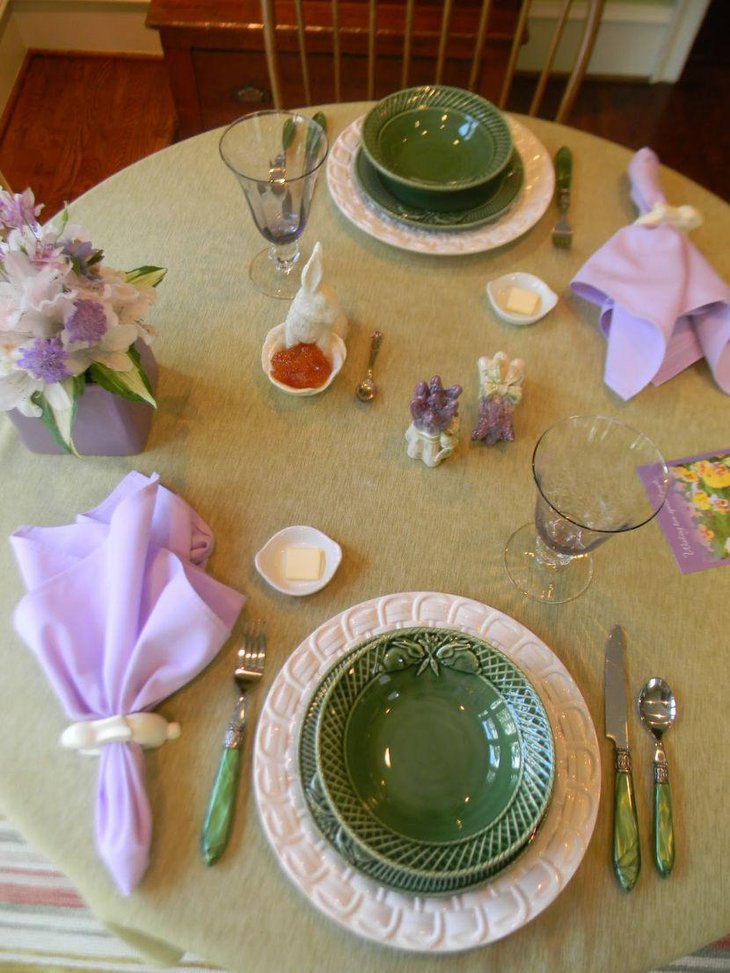 A simple Easter breakfast table setting