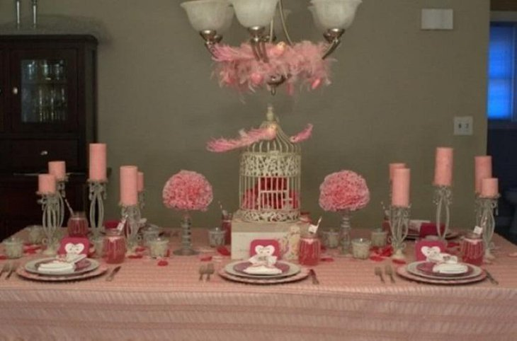 A Soft Pink Setting For Valentine Table