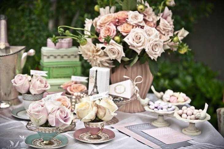 A vintage tea party themed outdoor bridal shower table