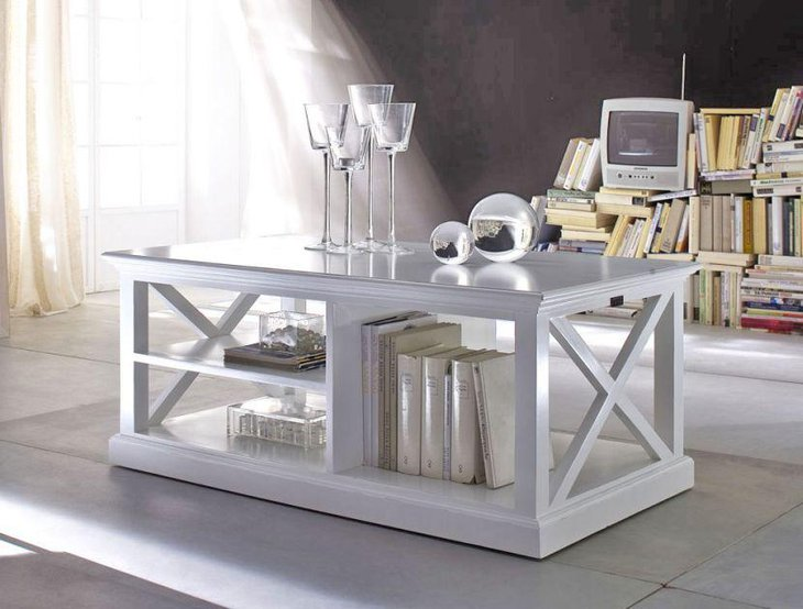 A white rustic coffee table