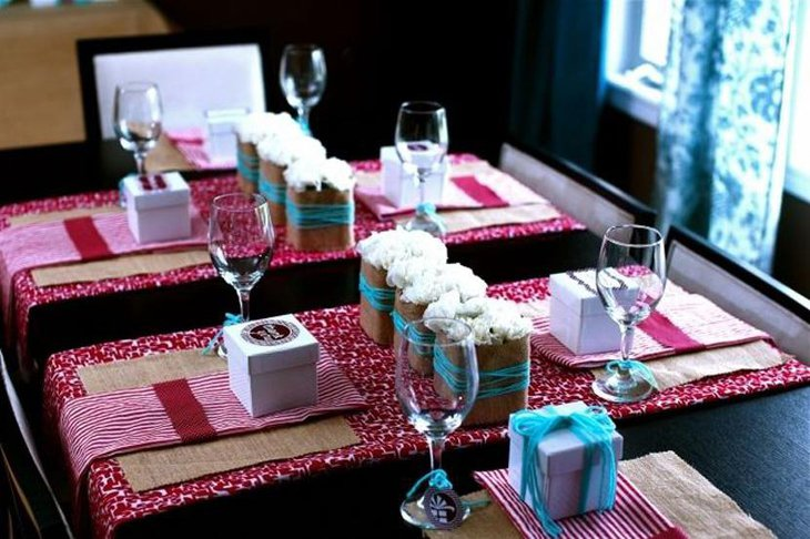 Abstract Printed Fabric Table Runner for Sophisticated Look