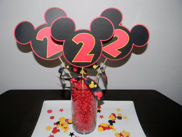 Adorable Glass Jar With Mickey Mouse Cutout Birthday Table Centerpiece