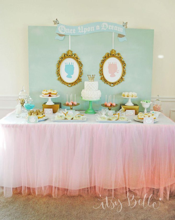 Adorable pastel themed twin baby shower table