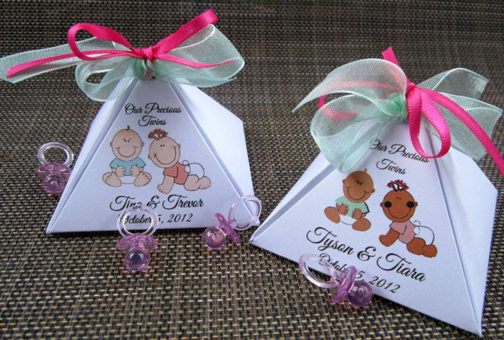 Adorable twin baby shower gift boxes