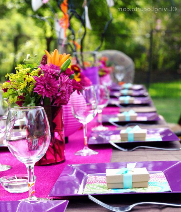 Adult Birthday Table Decor With Pink And Purple Decorations