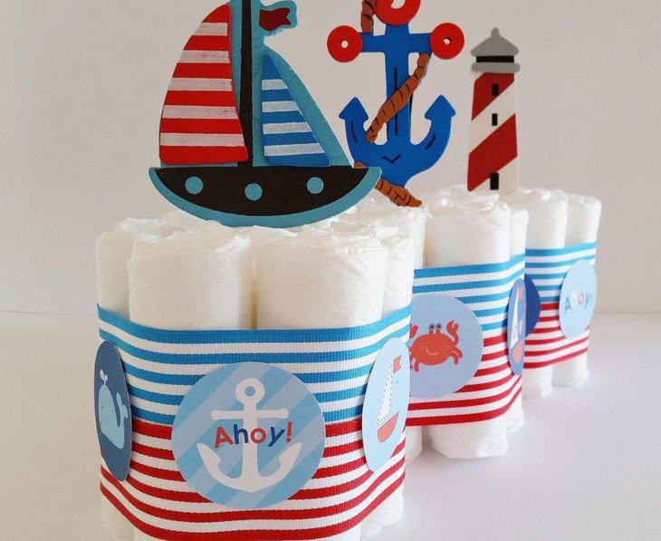Ahoy and anchor nautical themed baby shower table centerpieces