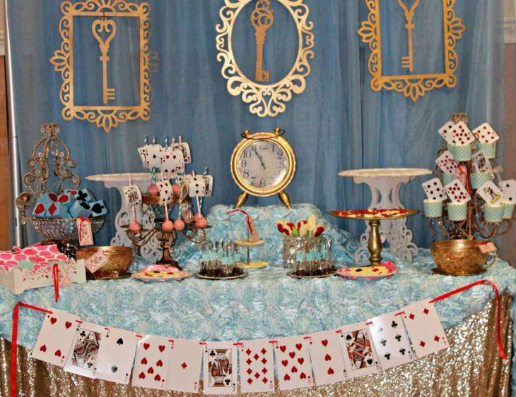 Alice in Wonderland birthday tea party table decor
