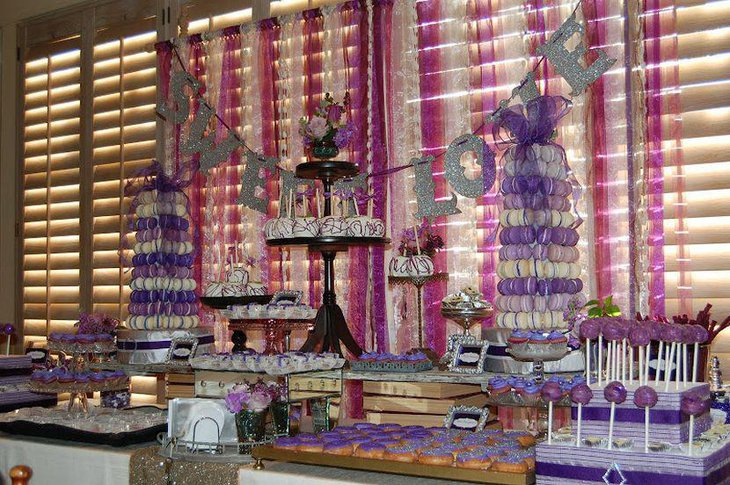 Alluring purple accented party dessert tablescape