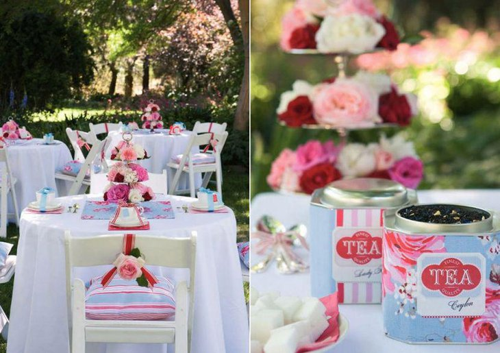 Alluring tea party three tiered floral centerpiece decor along with tea tins