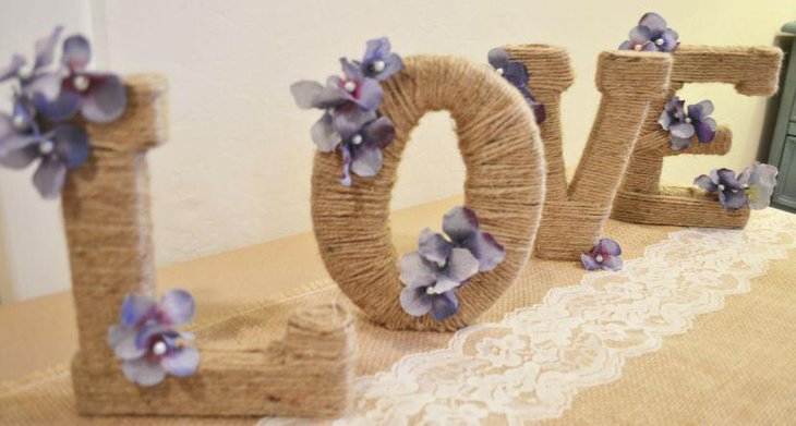 Amazing Rustic Wedding Table Decor With Twine Wrapped Letters