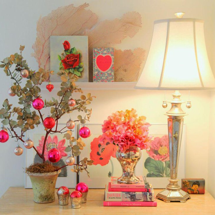 Amazing tree with hanging balls and books Valentines centerpiece
