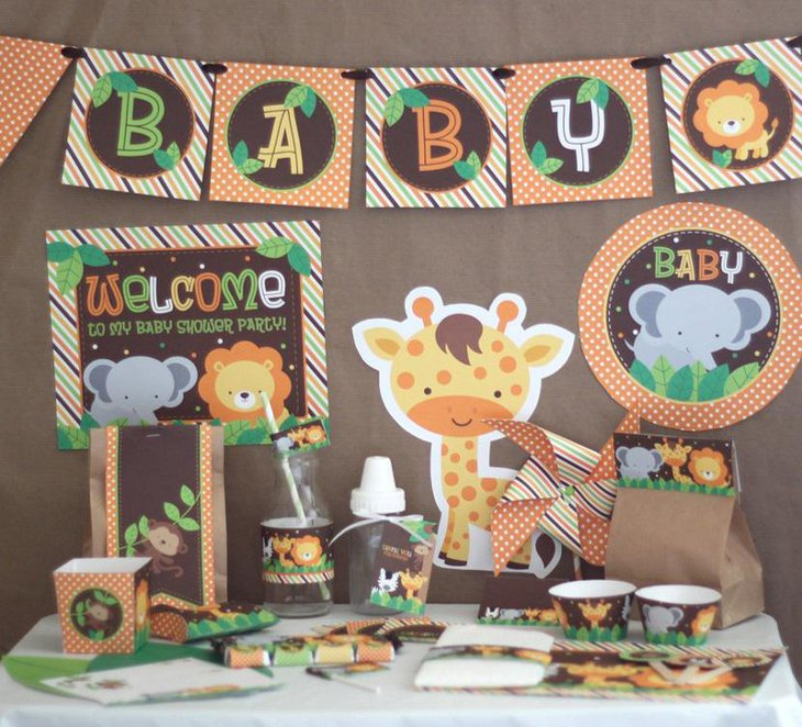 Animals Giraffe Spring Baby Shower Themes for Boys