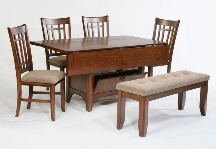 Antique rectangular drop leaf dining table set with four chairs bench and storage