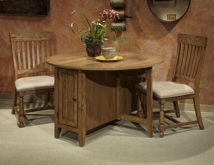 Antique Rhone round drop leaf dining table set