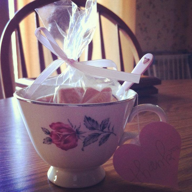 Antique tea cup favor ideas for charming tea party