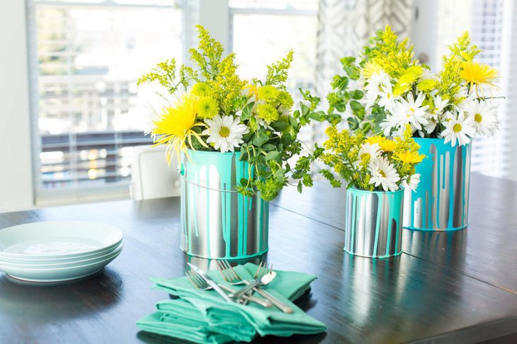 Appealing Floral Bucket Centerpiece for Weddings