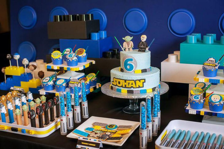 Appetizing dessert table for Star Wars themed birthday party