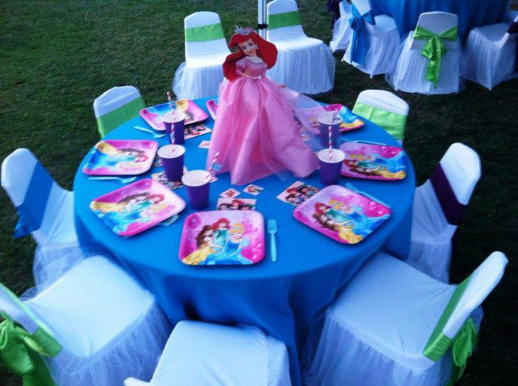 Ariel Princess birthday party table decor