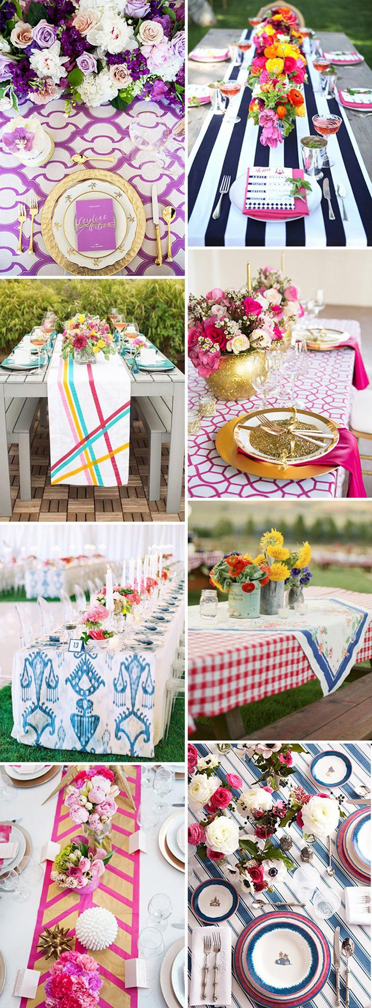 Artistic Bright and Bold Wedding Table Linens
