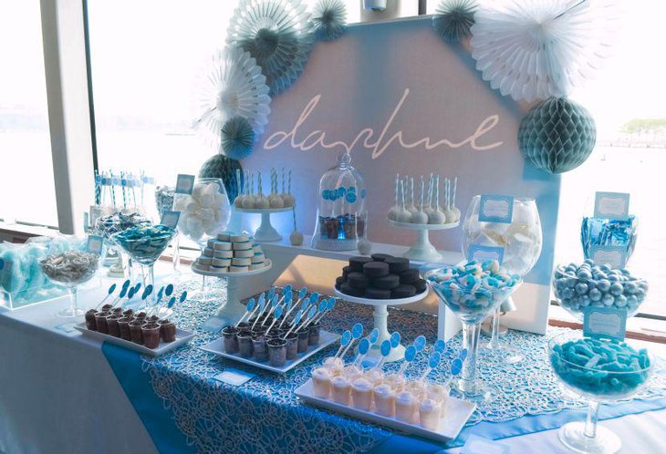Astonishing blue Christening candy table