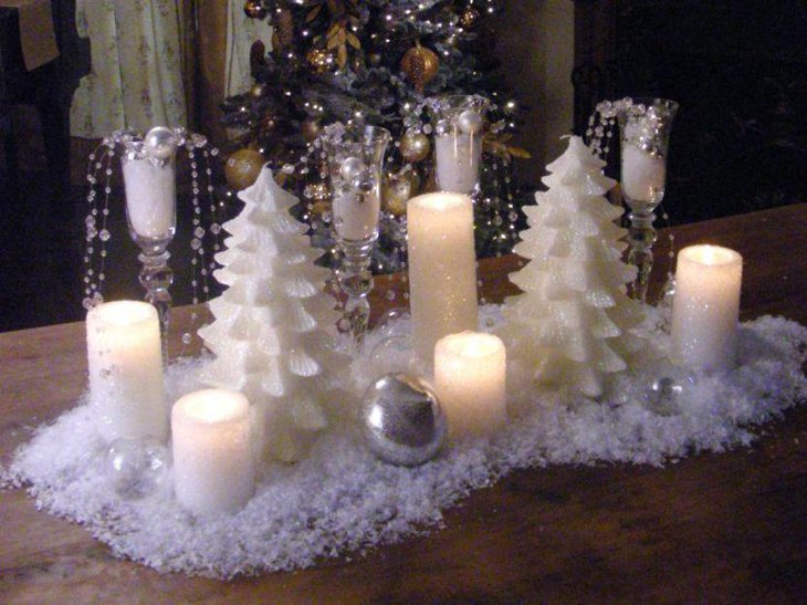Astonishing snowy candle centerpiece for winter table