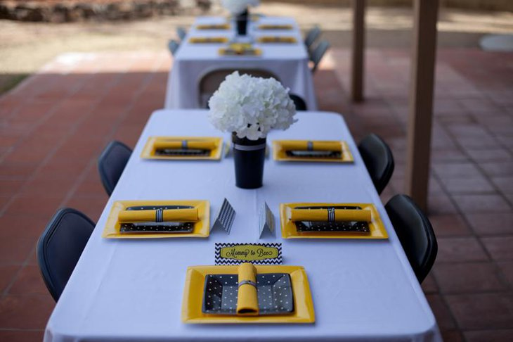 Attractive Bee Themed Baby Shower Table Set Up