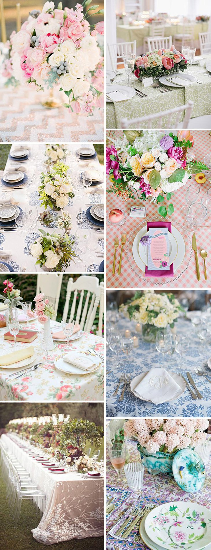 Attractive Patterned Table Linens for Weddings