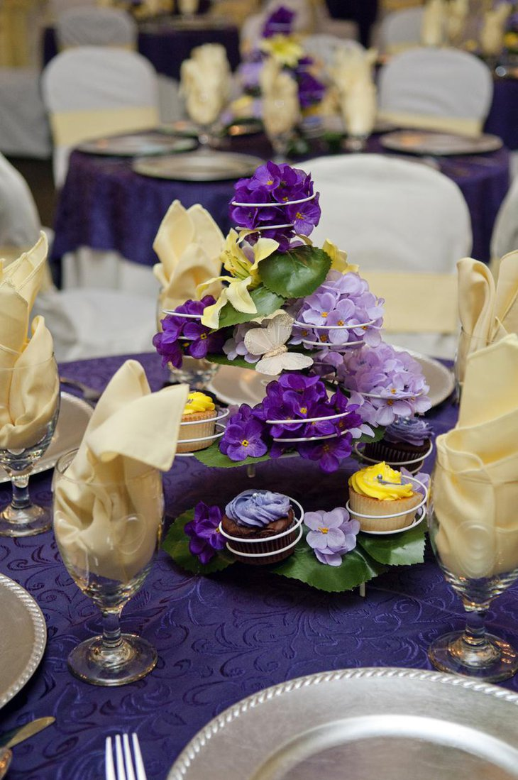 Attractive Purple Bridal Shower Centerpiece