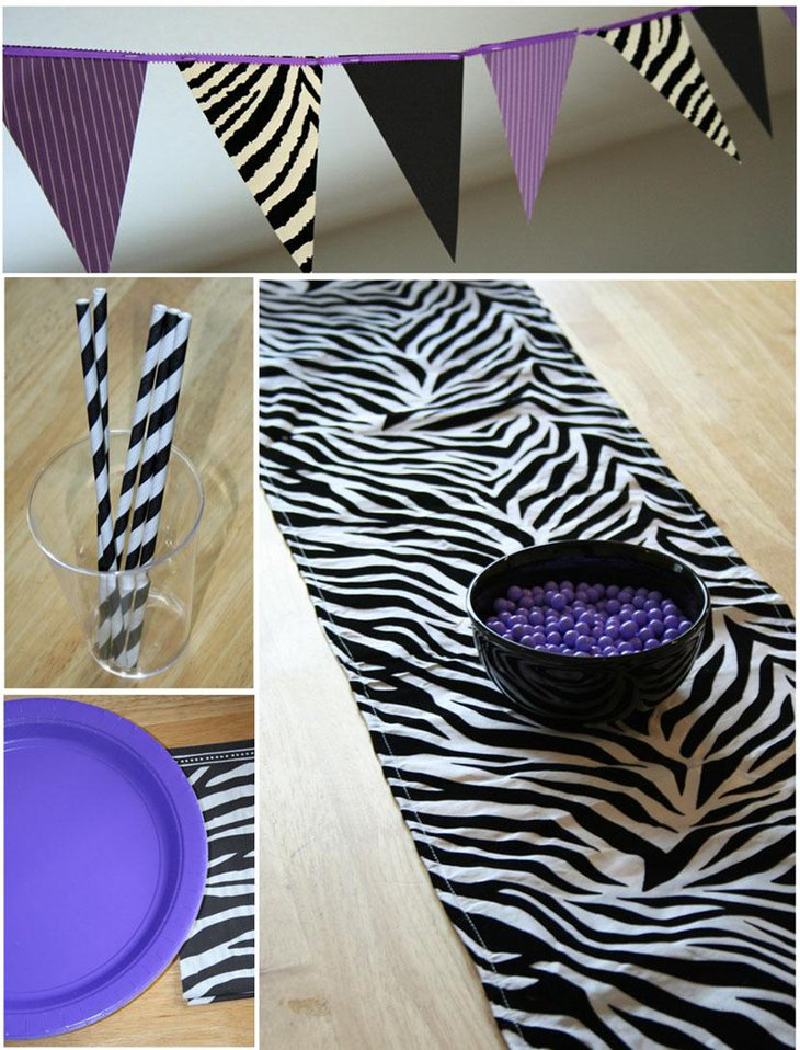 Attractive Zebra Animal Print and Purple Theme Table Runner
