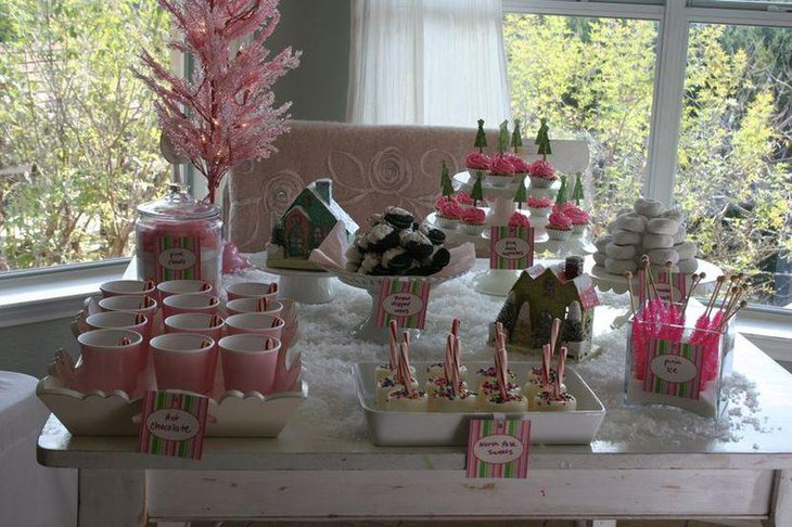 Awesome pink winter wonderland dessert table