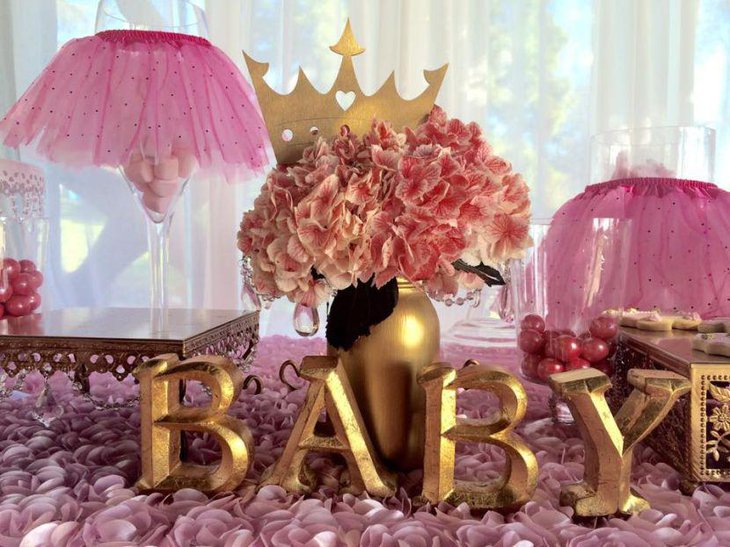 Awesome tutu and tiara girl baby shower decor