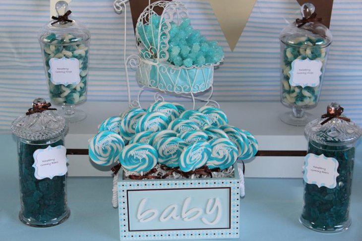 Tiffany blue baby shower. Candy bar | Meyer Baby Shower ...