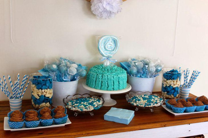 Baby shower candy table with blue accents