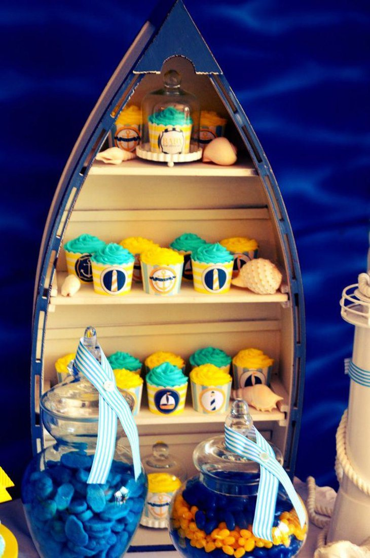 Baby shower candy table with nautical theme