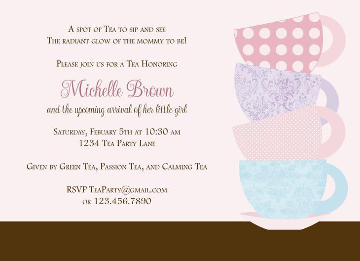 Baby shower tea party invite
