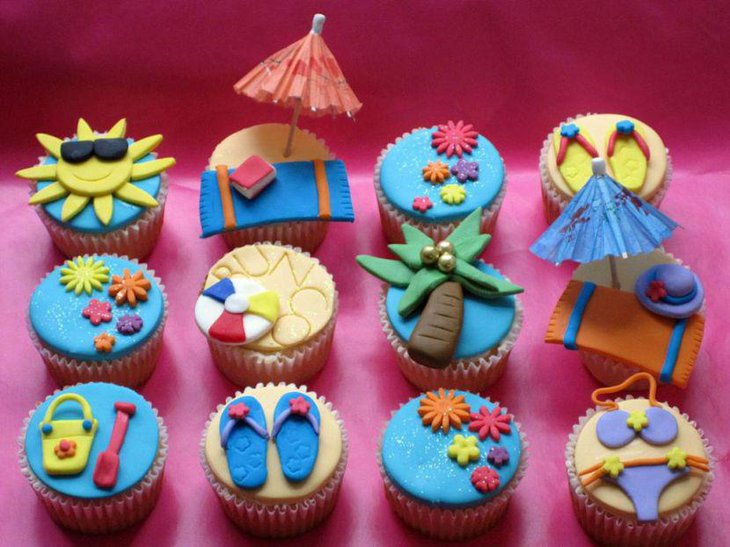 Beach themed cupcake decorations for party table