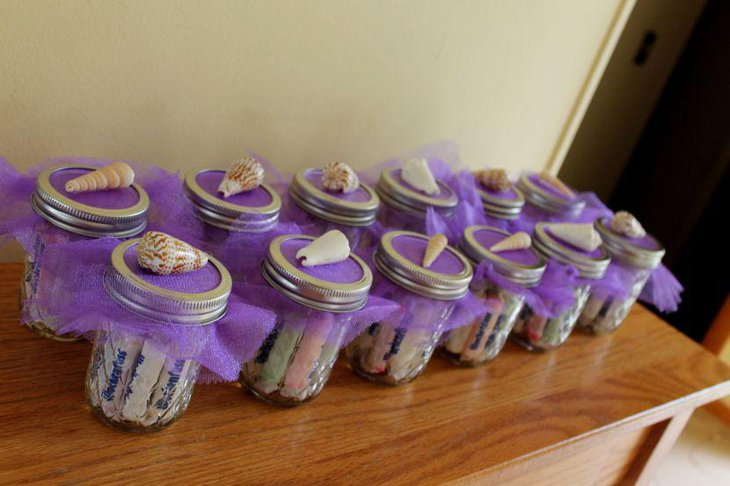 Beach themed purple jar party favors