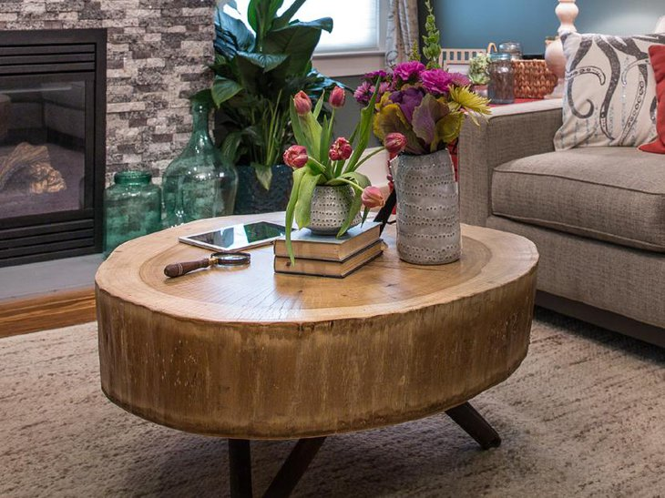 Beauitful Wooden Log DIY Coffee Table