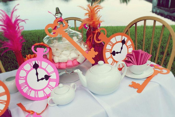 Beautiful Alice in Wonderland tea party table