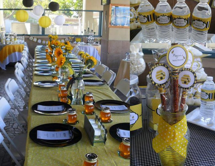 Beautiful Bee Themed Baby Shower Table Set Up